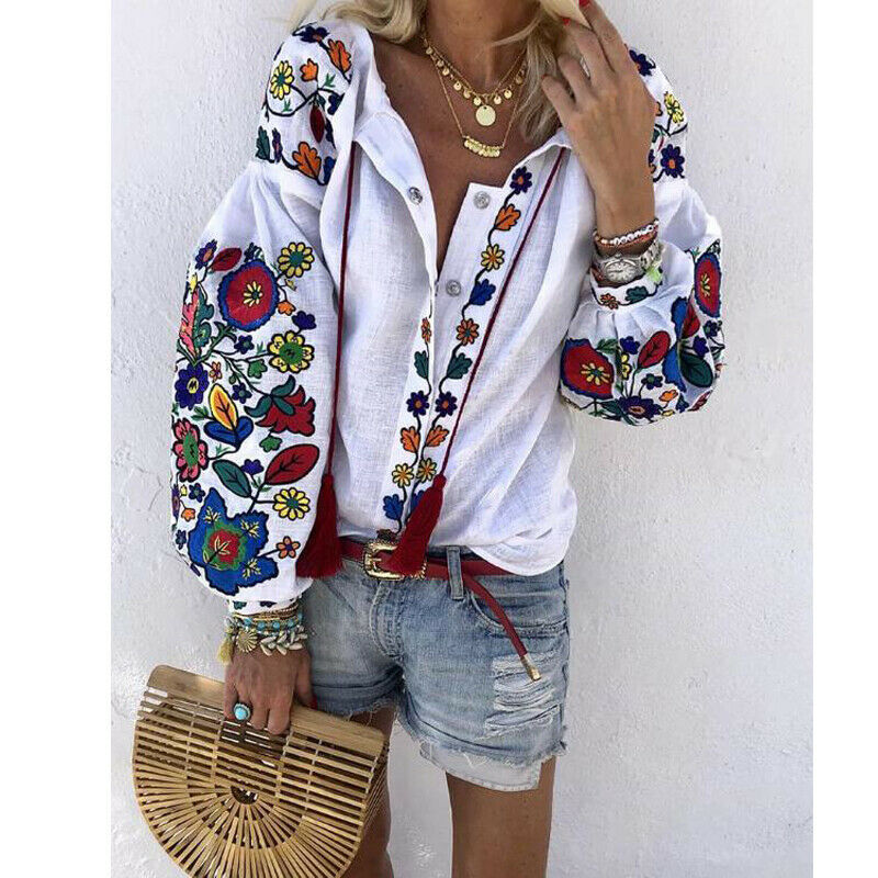 Fashion Women Shirts Lantern Sleeve Floral Print Shirt Button Design Long Sleeve Blouses Indie Folk Loose Ethnic White Tops New