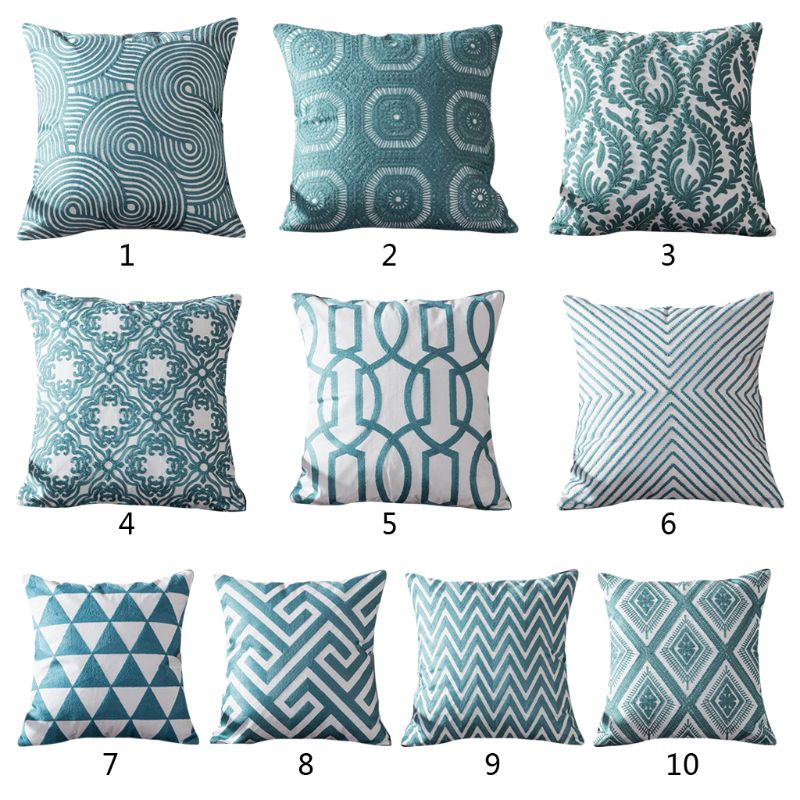 Blue Embroidered Cushion Cover Geometric Turquoise Decorative Pillow Case For Home Room Sofa Car Seat Decoration Supplies K4UA