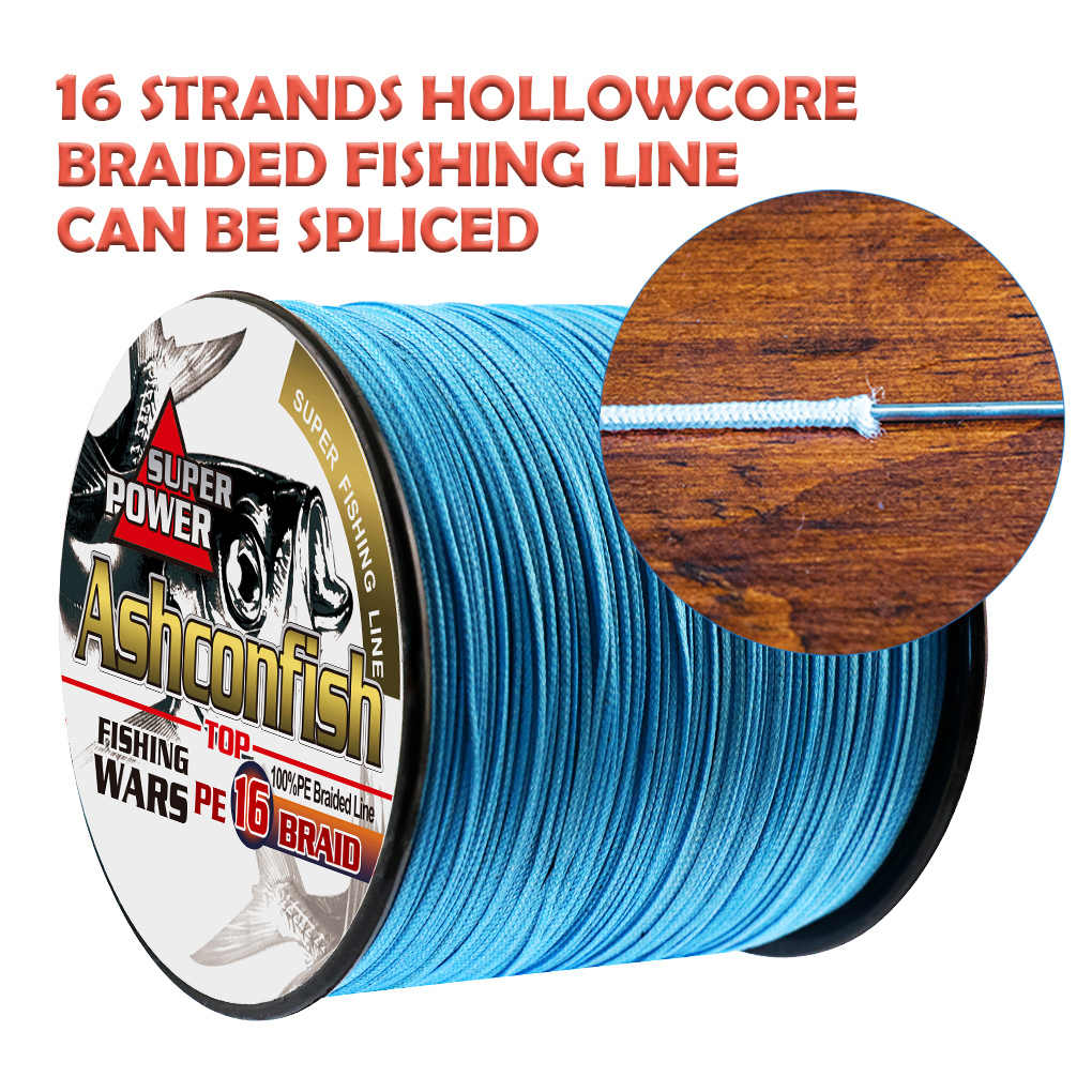 Hollow Ashconfish 16 Braid Fishing Line 20LB-500LB Test 100M Blue Hollow Core