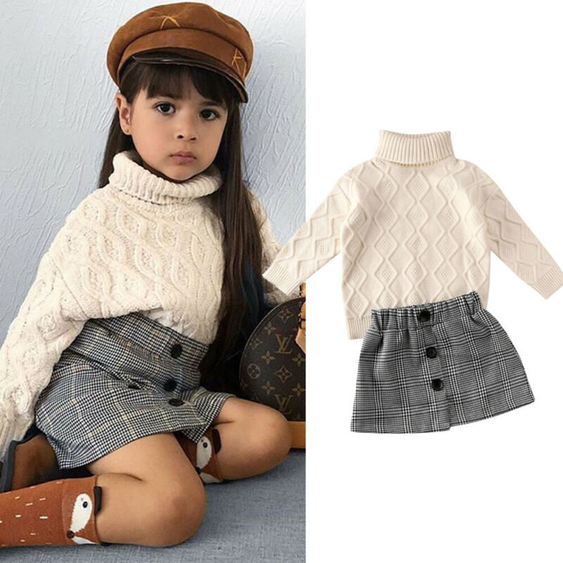 Toddler Baby Girl Skirt Outfit Long Sleeve Turtleneck Sweater Top A-Line Mini Skirt Fall Winter Clothes Set