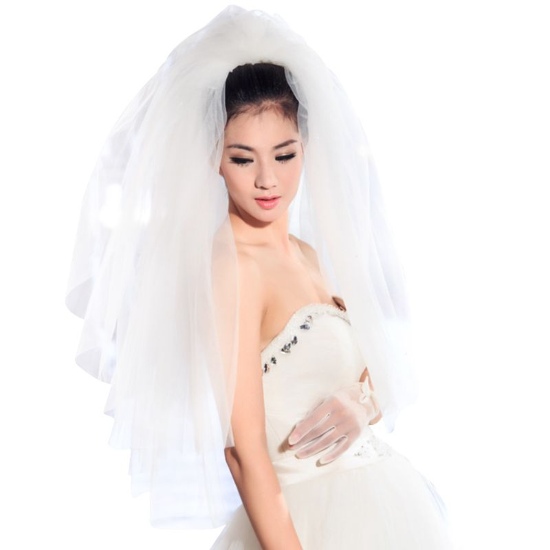 Tulle Wedding Dress Veils Fluffy White Multi Layers Bridal Hair Veil Comb Bride Fairy Marriage Accessories