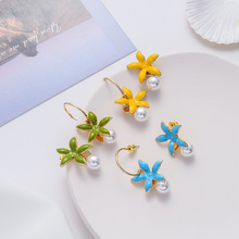 sweet color s305 Korea Sweet Candy Color Silulated Pearl Drop Earrings for Women Gold Color Metal Colorful Flower Pendientes Earrings Oorbellen