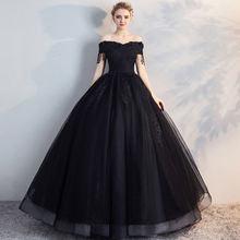 Черное бальное платье с открытыми плечами quincean era платья