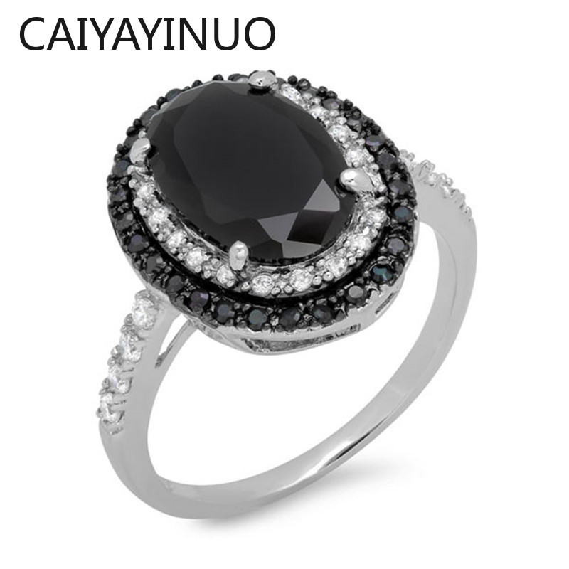 Caiyayinuo Classic Silver 925 Rings with Oval Shape Obsidian Gemstones Fine Jewelry Ring for Women Wedding Party Gifts wholesale