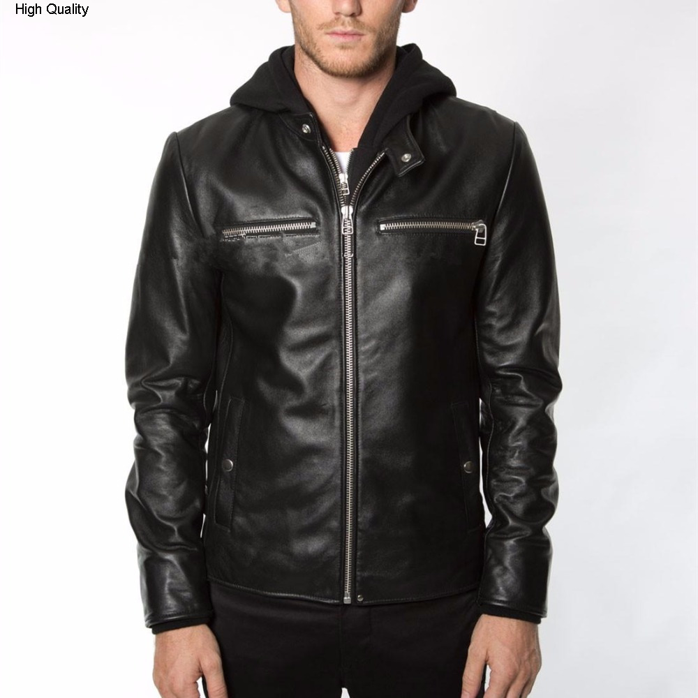 Men's Fashion Hood Genuine Leather Jacket Hat Detachable Casual Leather Coat Men Black Sheepskin Male Real Leather Jacket