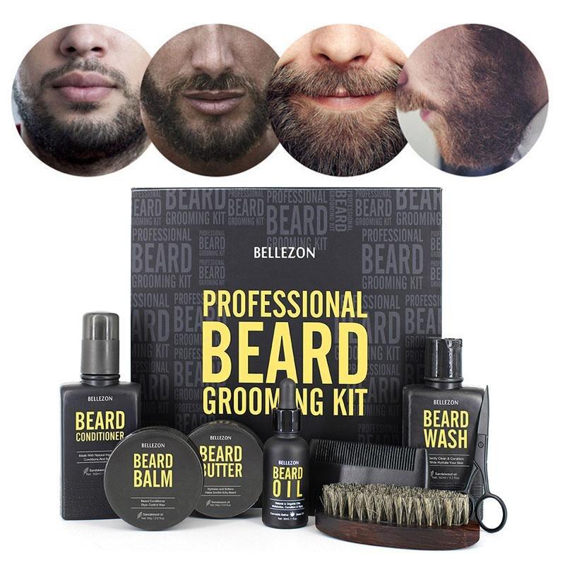 8pcs/set Men Beard Kit Styling Tool Beard Brush Beard Cream Oil Comb Moisturizing Wax Styling Scissors Beard Care Set