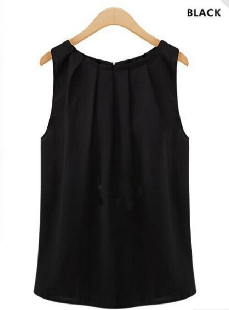 Tank Top Chiffon Blouse Sweet Sleeveless Solid O-Neck Polyester Regular Plus Size Womens Tops and Blouses S-3XL