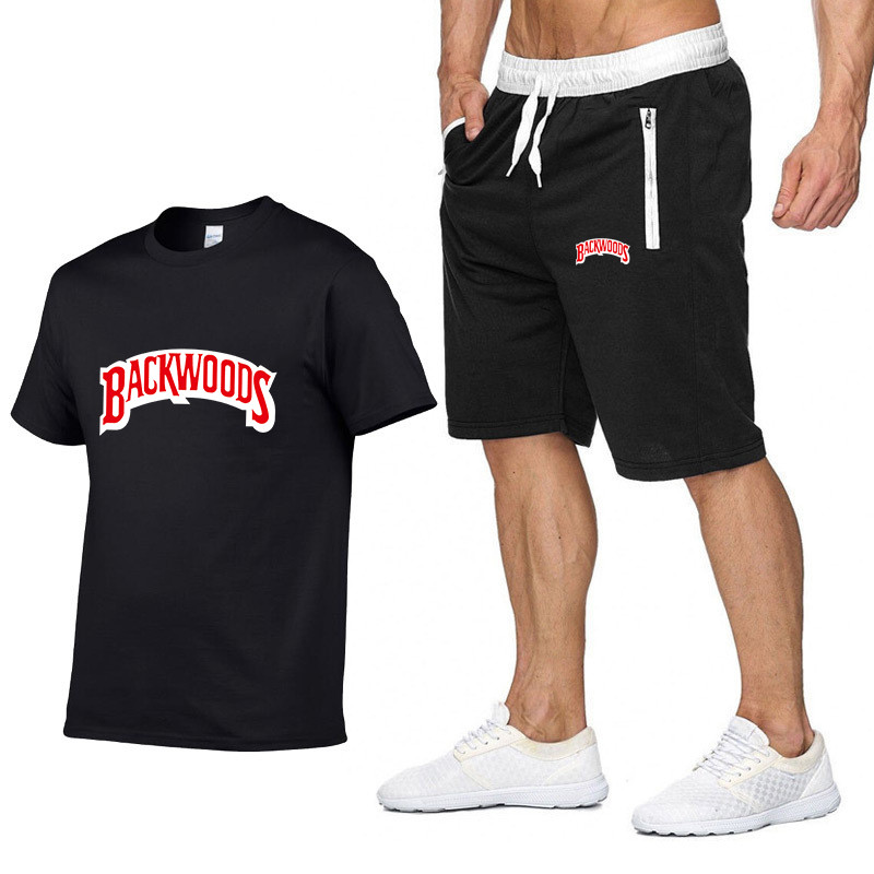 New Summer Men BACKWOODS Printing Men Fashion T Shirt +Shorts Suit O Neck T-Shirt Cotton Hip Hop Rock Streetwear Men Clothing
