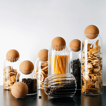 Ball Cork Lead-free Glass Jar With Lid Bottle Storage Tank Sealed Tea Cans Cereals Candy Transparent Storage Jars Coffee Contain 1
