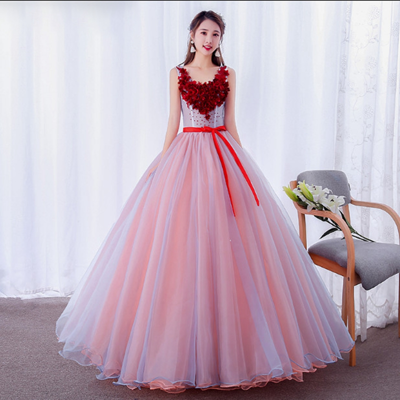 Col en v wne rouge Quinceanera robes slim belle robe de soirée perles amzon vente chaude robes dos grande taille