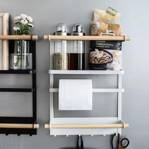 Image 3 - Магнитная адсорбционная боковая стойка для холодильника, настенная многофункциональная стойка для бумажных полотенец, стойка Органайзер