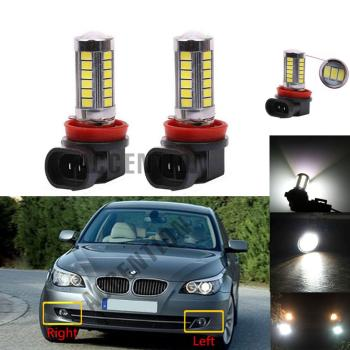 2Pcs LED Light Fog Lamp Bulbs For BMW E60 E90 E63 E46 323i 325i 525i Car-Styling Front LED Bulbs image