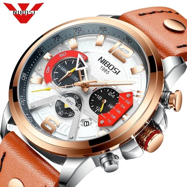 NIBOSI 新しい腕時計メンズブランド腕時計男性用のクォーツ時計男カジュアル軍事防水腕時計レロジオ Masculino