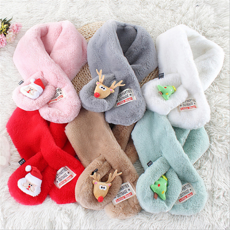Fashion Baby Girls Kids Winter Warm Wrap Faux Fur Scarves Christmas Cartoon Animal Gift Stylish Children Girls Patchwork Scarf