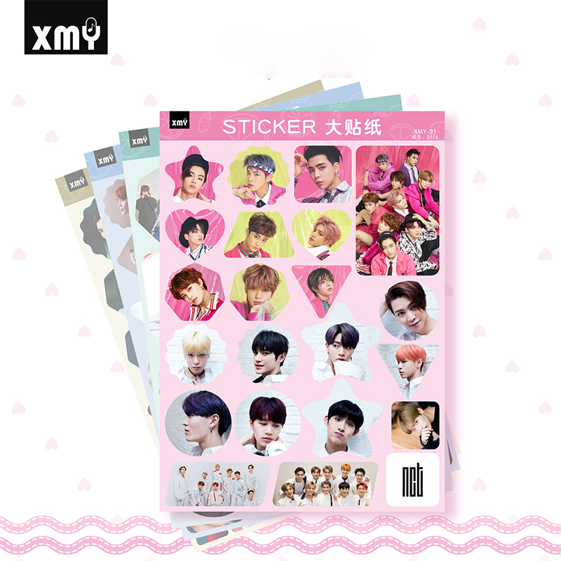 4pcs/set KPOP Sticker NCT Seventeen REDVELVET BNK48 MONSTA-X Group Creative Photo Sticker Kpop Supplies