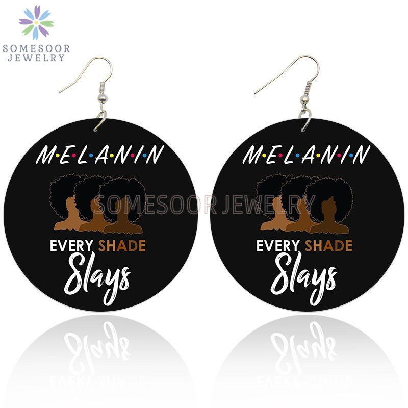 Melanin Every Shade Slays Large Wooded Earrings