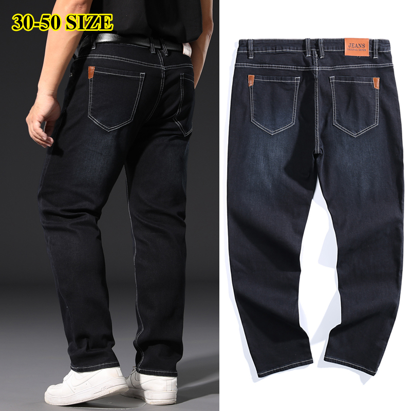 Plus Size 42 44 46 48 50 52 Men's Business Loose Jeans Classic Style Straight Stretch Denim Trousers Male Brand Pants Black Blue