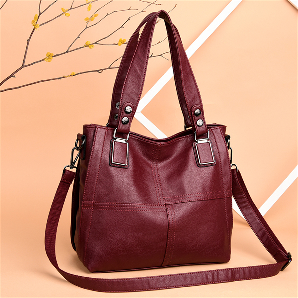 Leather Luxury Handbags Women Bags Designer Handbags Ladies Shoulder Hand Bags For Women 2019 Large Casual Tote Sac Bolsa Femini 1