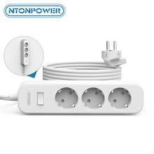 NTONPOWERติดผนังPower Stripปลั๊กEU Surge Protector 3M Extension SocketสำหรับHome Officeเครือข่ายกรอง