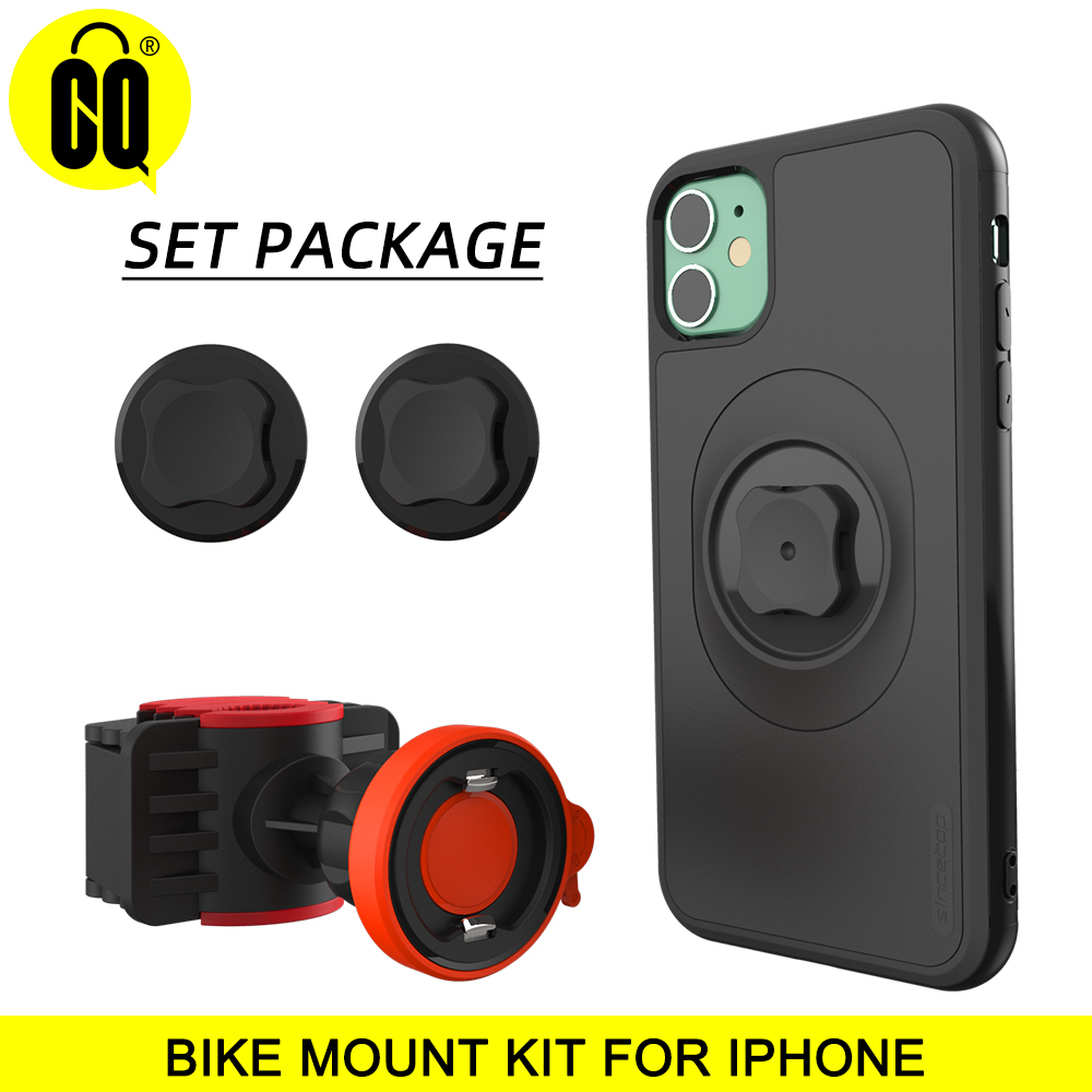 Bicycle Phone Holder With Quick Mount Case For Iphone 11 Pro XsMax 8 Plus 7 Bike Mount Black PC Matte Phone Case