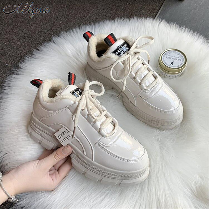 Mhysa 2019 Autumn Shoes Woman Sneakers Lace Up Women Leather Shoes Flats Vulcanized Shoes Comfort Winter Women's Footwear L1092