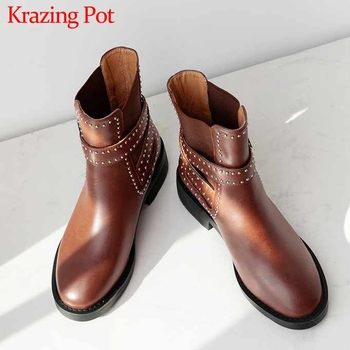 Krazing Pot British genuine leather rivets buckle straps round toe med heels solid winter keep warm women rock ankle boots L10