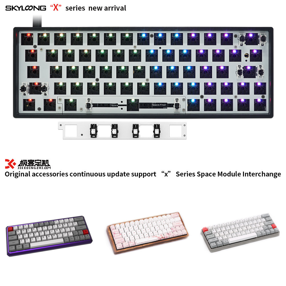 GK64S Upgrade Version GK64XS Mechanical Keyboard Kit 5.1 Bluetooth Board Compatible GH60 60% Mini Keyboard Plastics White Blue