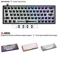 GK64XS Mechanical Keyboard Kit 5.1 Bluetooth Board Compatible GH60 60% Mini Metal Keyboard Plastics White Walnut Rosewood