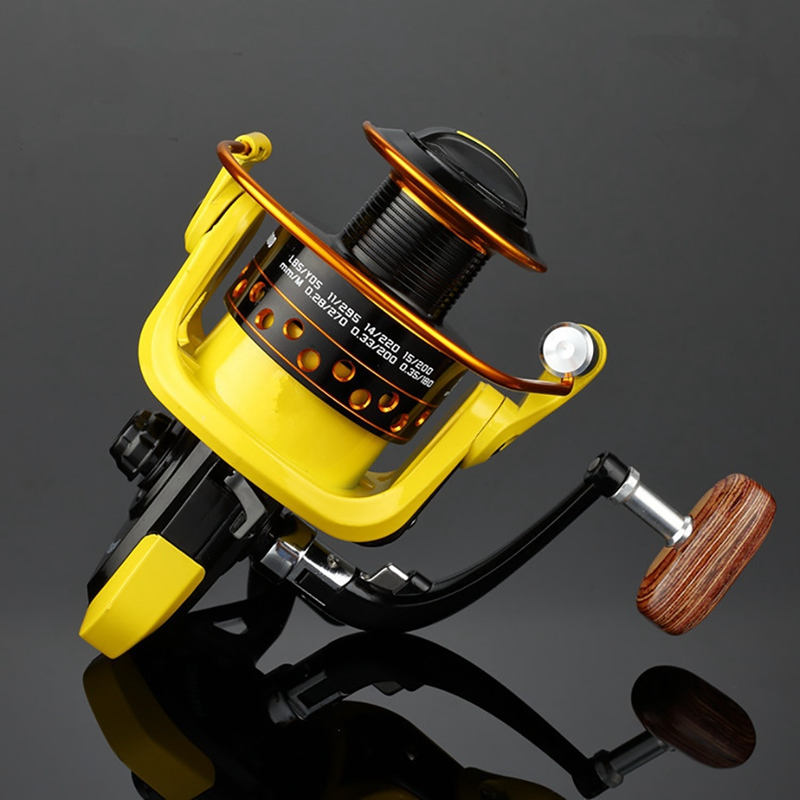 Fishing <font><b>Reel</b></font> Wooded Handle Plastic Nylon Right-handed Left-handed Pre-Loading Spinning Wheel Supply Accessory image