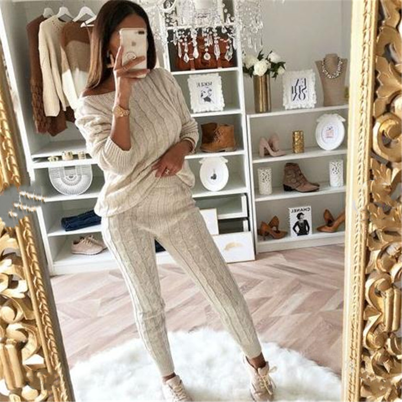 2020 Autumn  Women's Arrival Solid 2 Piece Set Casual Knitted Tracksuit Sportswear Warm Sweater + Long Pants Outfits