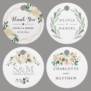 Circle Labels Wedding-Tags Hole-Your-Text-Or-Logo Custom Personalized with Handmand Thank-You