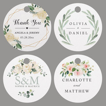 Circle Labels Favor-Tags Wedding-Tags Handmand Hole-Your-Text-Or-Logo Thank-You Custom
