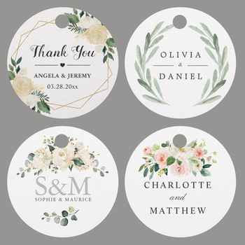 100PCS/Set Custom Favor tags Personalized Circle Wedding Tags With Hole your text or logo Handmand Thank You Labels