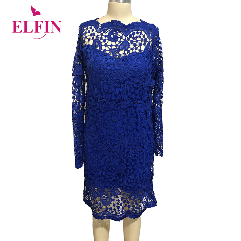 Casual Long Sleeve Blue O-neck Sexy Elegant Lace Patchwork Women Autumn Dress Slim Fit Bodycon Party Robe Femme SJ3926R