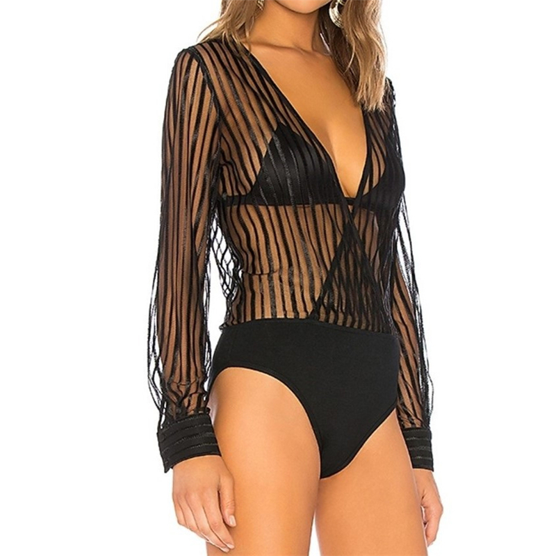 Long Sleeve Bodysuit Women Black Bodycon V Neck Bodysuit Clubwear See Through Body Suits Ladies Sexy Stripe Mesh Bodysuits 2020