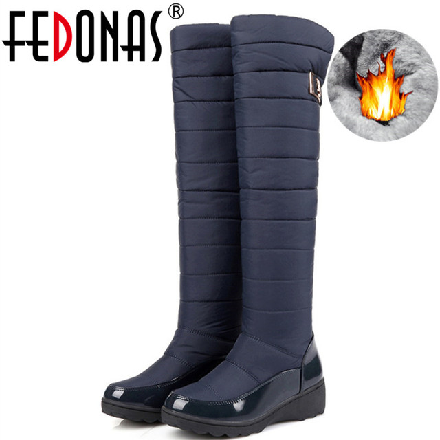 FEDONAS Fashion Women Winter Snow Boots Warm Fur Wedges High Heels Boots Sexy Tight High Long Shoes Woman Platforms High Boots