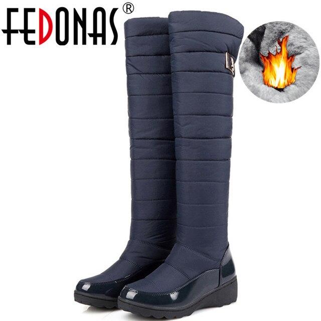 FEDONAS mode femmes hiver bottes de neige chaud fourrure cales talons hauts bottes Sexy serré haut longues chaussures femme plates formes bottes hautes
