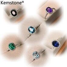 Модное кольцо Kemstone с разноцветным Цирконом и кристаллом синего, черного, зеленого, фиолетового цвета из меди, ювелирные изделия, подарок для...