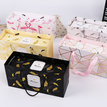 MissYe Store Feather Gift Box Marble Nougat Cookie Boxes Candy Pineapple Cake Baking Paper Carton Birthday Party Wedding Wrap(China)