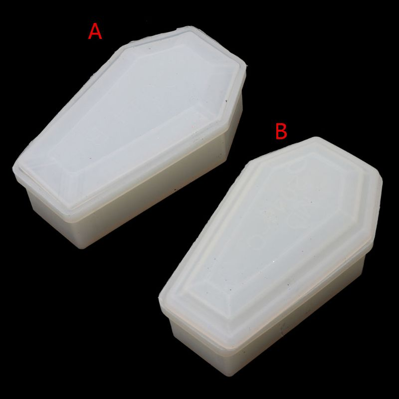 Resin Casting Storage Box Mould Silicone Coffin Box Mold Halloween Jewelry Tools