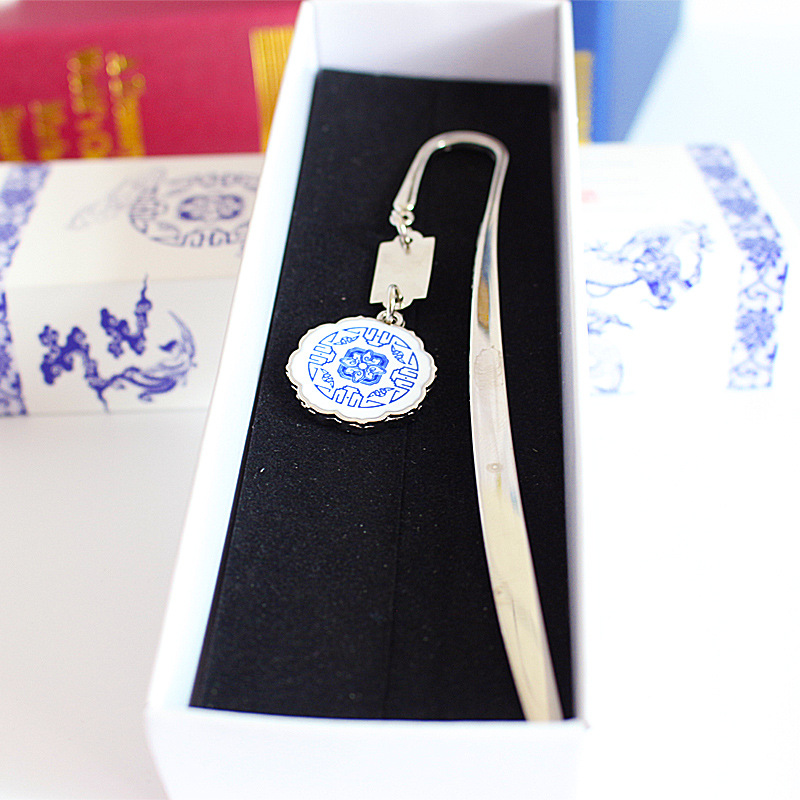 Hot Selling Metal Bookmark Blue And White Porcelain Pendant Classical Bookmark Creative Business Gift Customization Logo Manufac