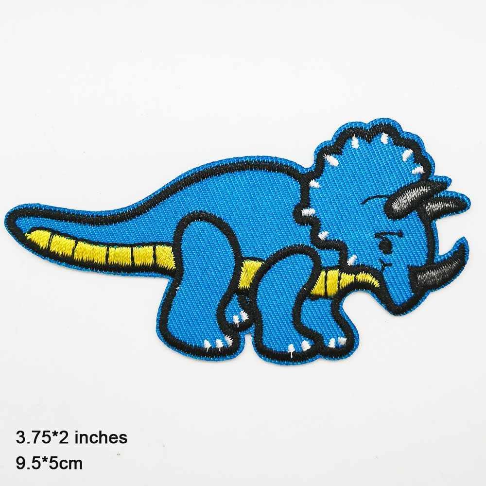 Blu Dinosauro Del Cartone Animato Ferro Su Toppe e Stemmi Ricamato Vestiti di Patch Per Vestiti abbigliamento Adesivi di Abbigliamento Accessori di Abbigliamento