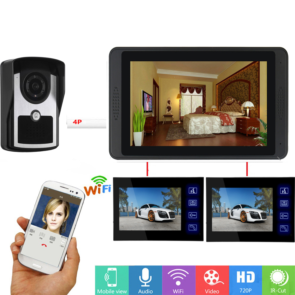 APP Remote Unlock Video Intercom 7 Inch Monitor Wifi Wireless Video Door Phone Doorbell Visual Intercom 1 Camera 3 Monitor  KIT