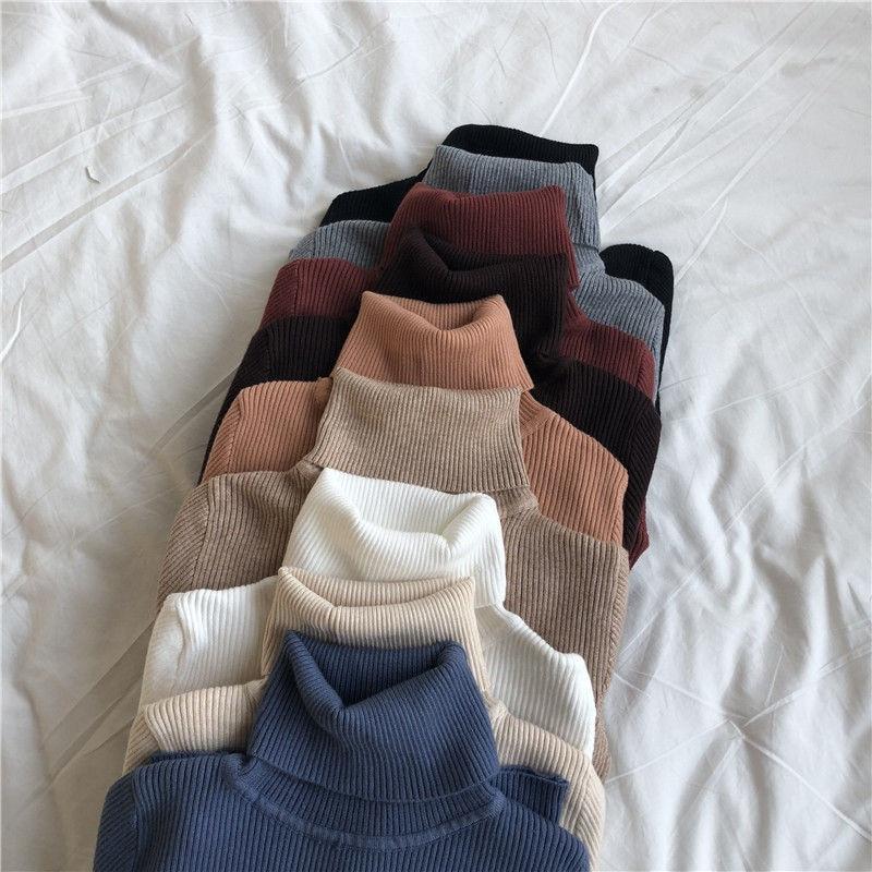 Women Turtleneck Sweaters Autumn Winter Korean Slim Pullover Women Basic Tops Casual Soft Knit Sweater Soft Warm Jumper 2