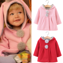 Rabbit ears Coat For Girls Wool Coat 80%Cotton Long Sleeve Autumn Winter Hooded Girl Coat 0-6 Years 2019 New Girl Clothes D30 цены онлайн