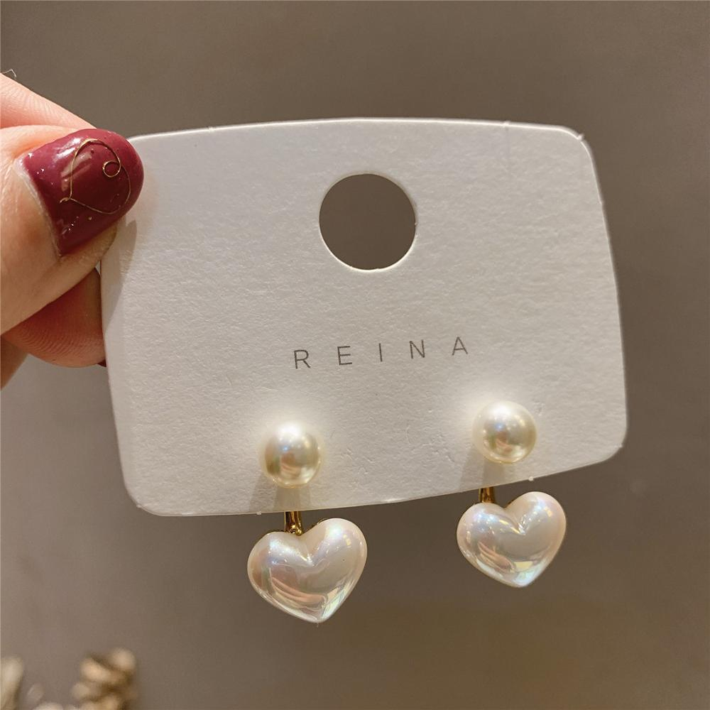 Fashion Romantic Heart Pearl Stud Earrings For Women New Style Trendy Earrings Female Wedding Birthday Gift Jewelry 2020