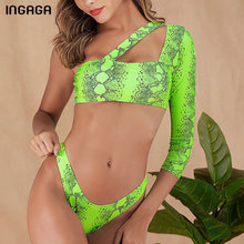 INGAGA One Shoulder Swimsuit Snake Print Bikini Women Swimwear Long Sleeve Bathing Suit 2019 Cut Out Brazilian Mujer New