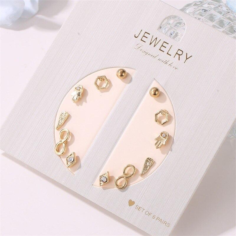 Модные маленькие свежие 6 пар геометрических цветов, серьги в виде ракушки, простой женский студенческий набор, ювелирные изделия для ушей
