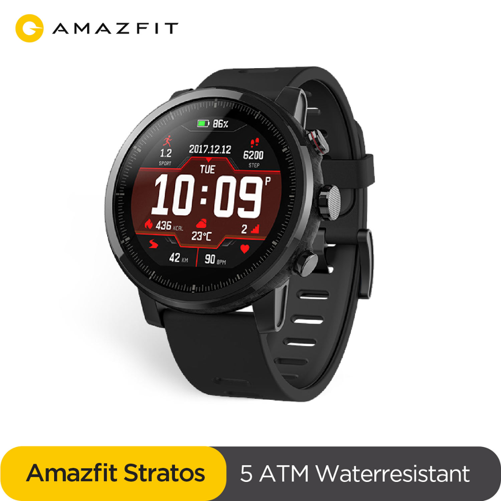 Original Amazfit Stratos Pace 2 Smartwatch Smart Watch Bluetooth GPS Calorie Count Heart Monitor 50M Waterproof