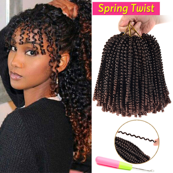 Laiya-Synthetic Kinky Curly 8 Inch Spring Twist Crochet Braid Hair strands/pack Hair Extension for Black Women aigemei crochet hair extension curly senegalese twist braid synthetic braiding hair 18 inch